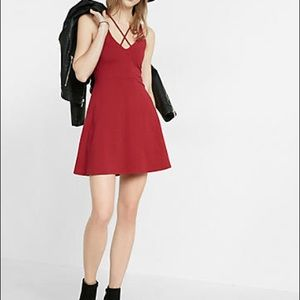 EXPRESS Maroon Chest Cut Out Fit n Flare Dress
